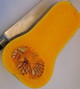 take 1 organic butternut squash, peel and cut in half - scoop out the seeds